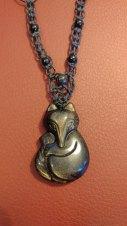 שרשרת אבן גולדן אובסידיאן צורת שועל
